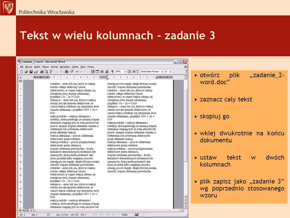 Tekst w wielu kolumnach – zadanie 3
