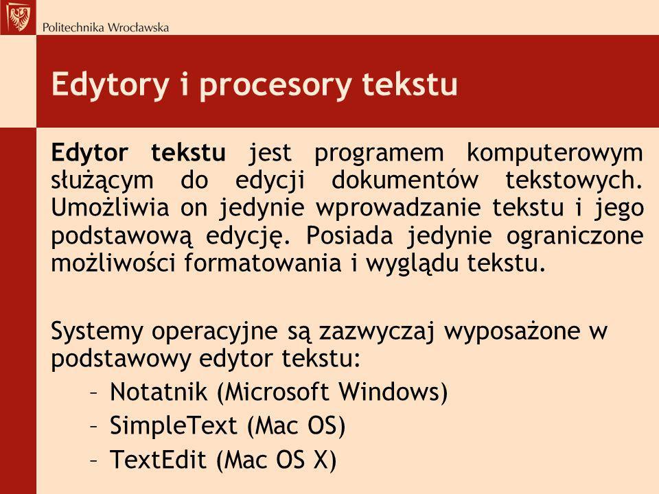 Edytory i procesory tekstu