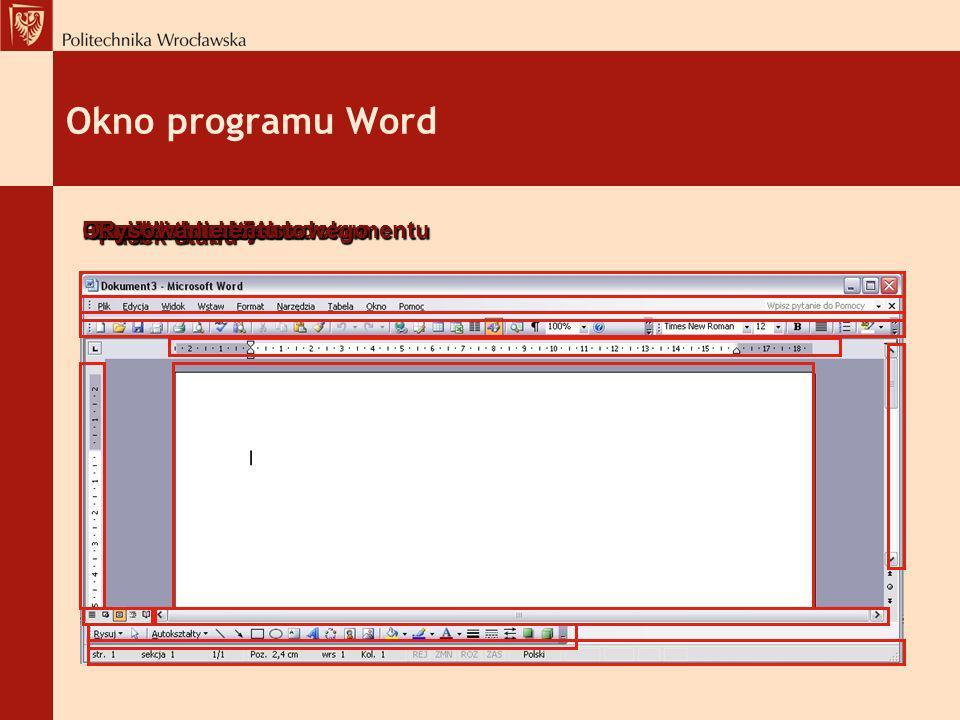 Okno programu Word Pasek narzędzi Okno dokumentu Pasek menu tekstowego