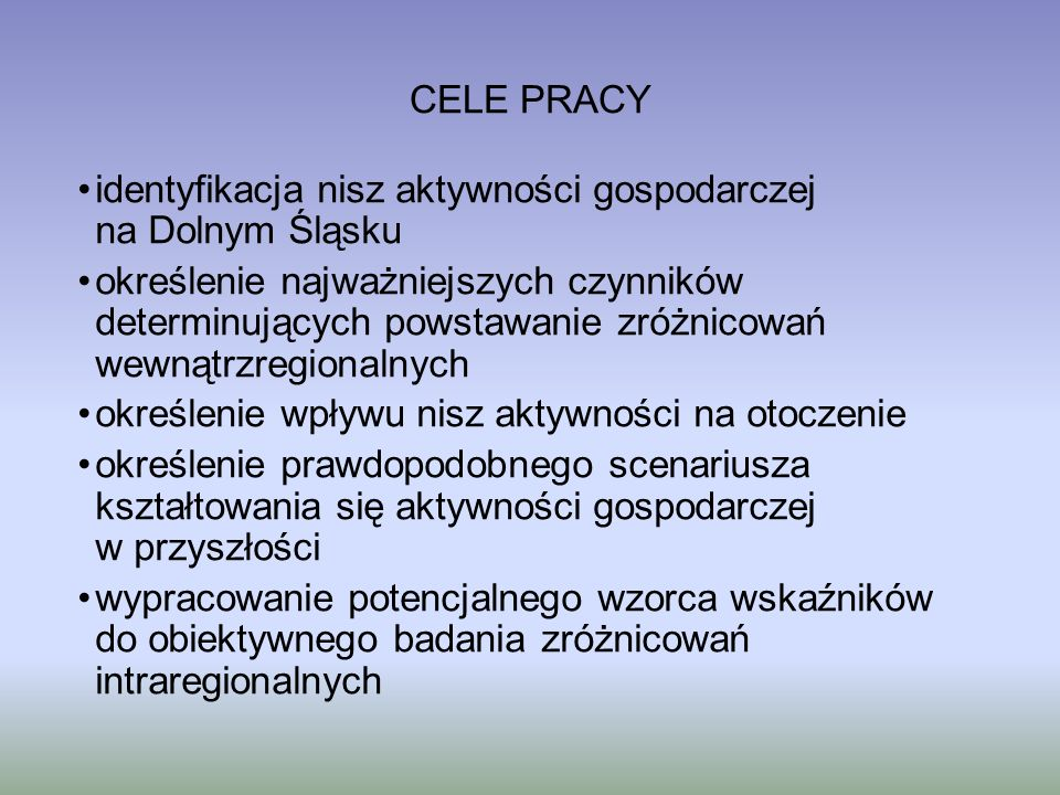 CELE PRACY identyfikacja nisz aktywności gospodarczej na Dolnym Śląsku.