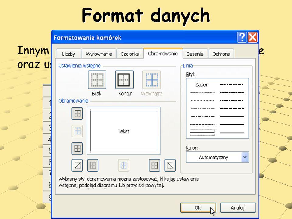 Format danych Innym rodzajem formatowania jest wypełnienie oraz ustawienie obramowania komórek.