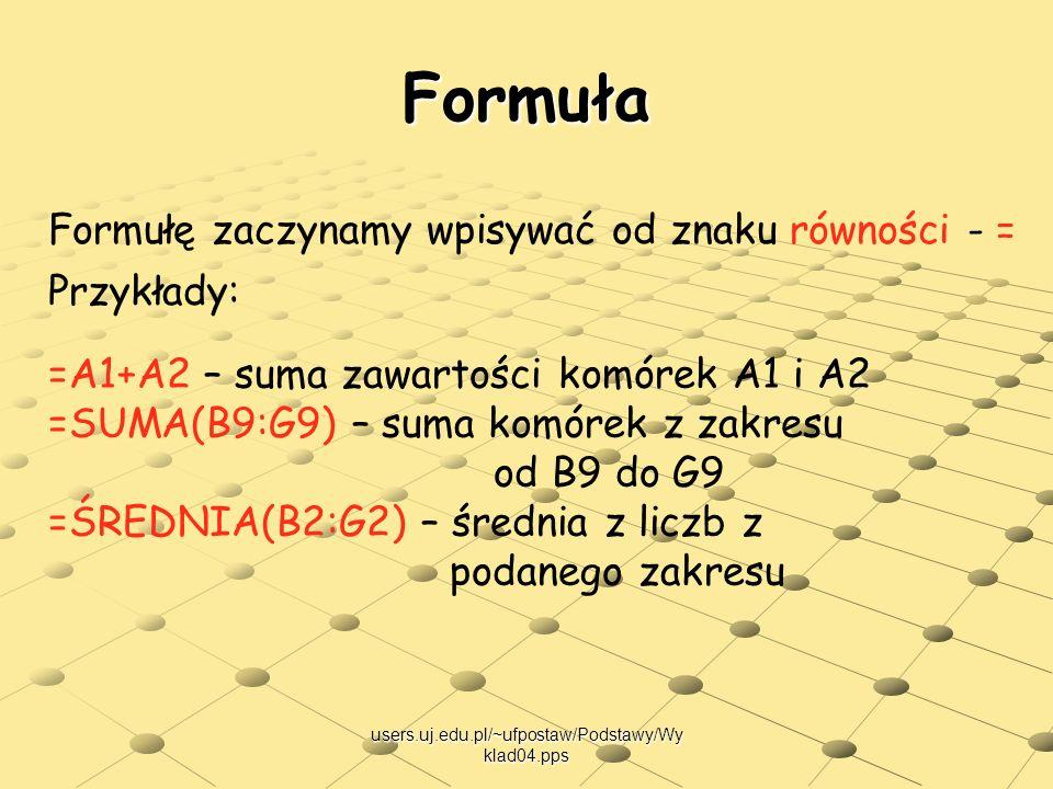 Formuła Formułę zaczynamy wpisywać od znaku równości - = Przykłady: