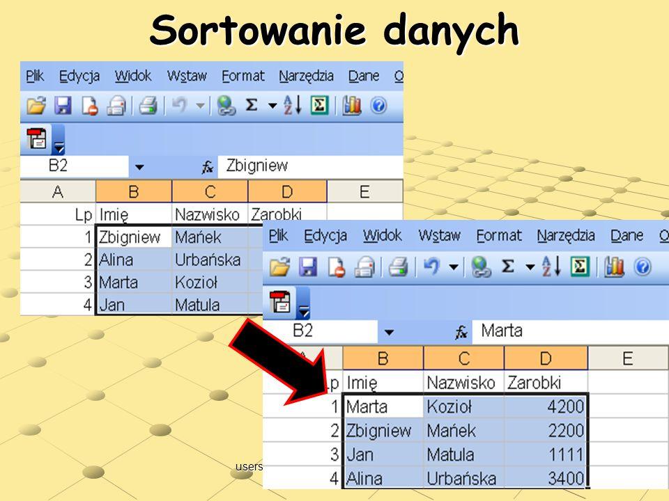Sortowanie danych users.uj.edu.pl/~ufpostaw/Podstawy/Wyklad04.pps