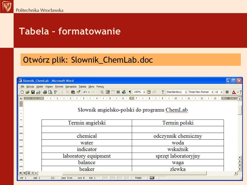 Tabela – formatowanie Otwórz plik: Slownik_ChemLab.doc