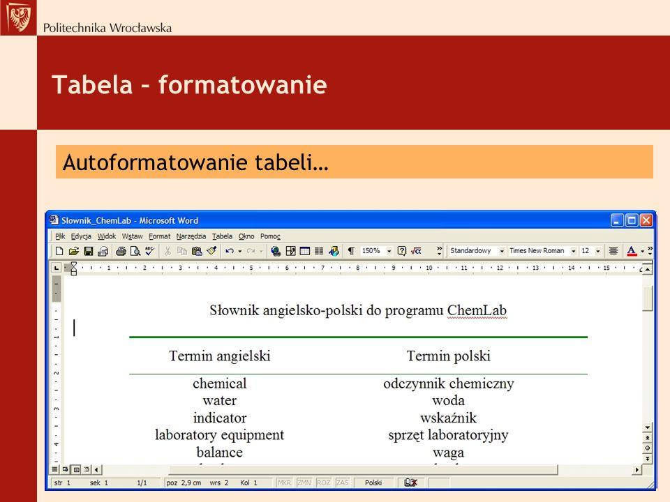 Tabela – formatowanie Autoformatowanie tabeli…
