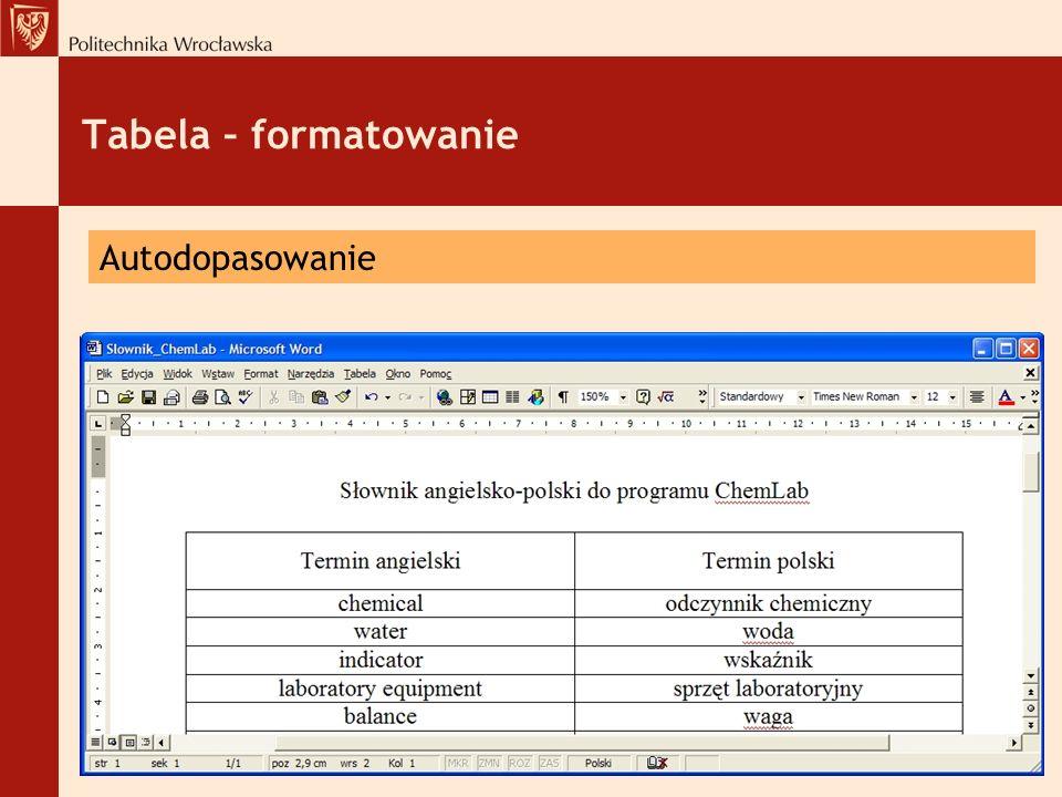 Tabela – formatowanie Autodopasowanie