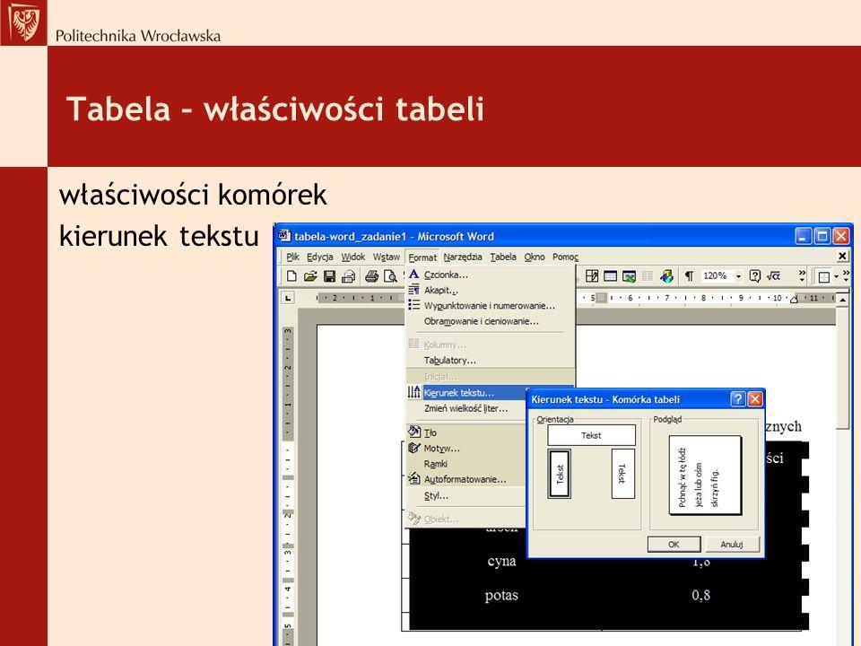 Tabela – właściwości tabeli