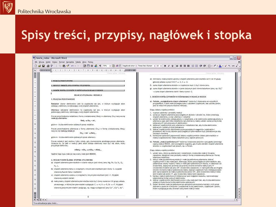Spisy treści, przypisy, nagłówek i stopka
