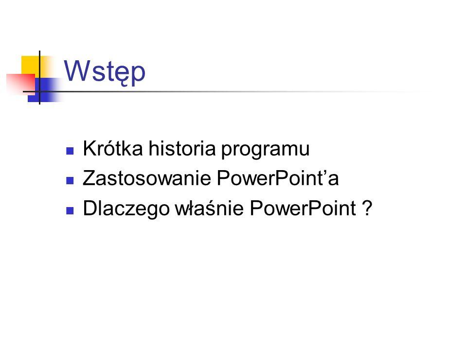 Wstęp Krótka historia programu Zastosowanie PowerPoint'a