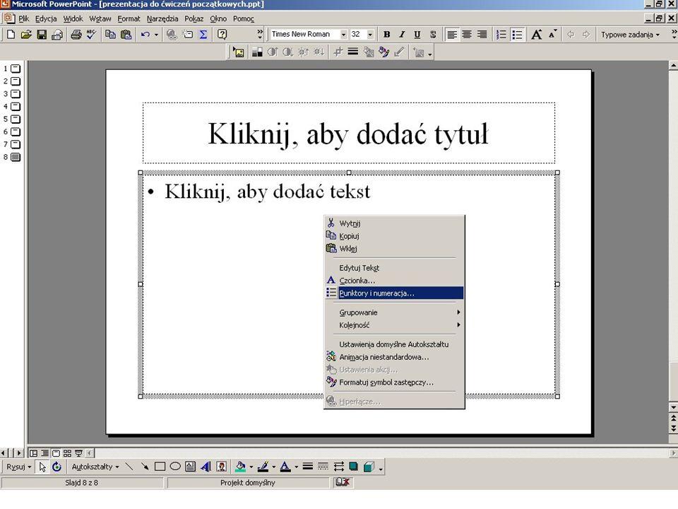 Formatowanie numeracji menu