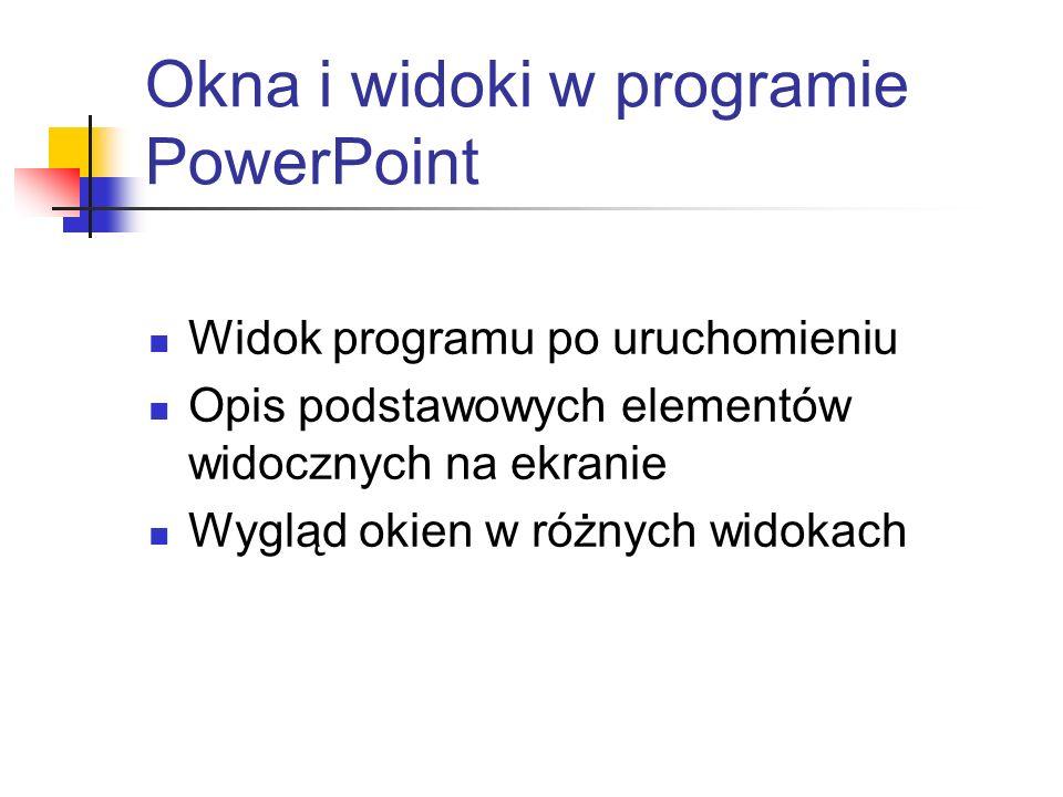 Okna i widoki w programie PowerPoint
