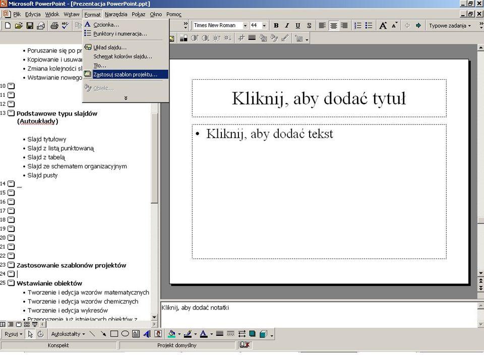 Opcja Zastosuj szablon projektu w menu głównym PowerPoint'a