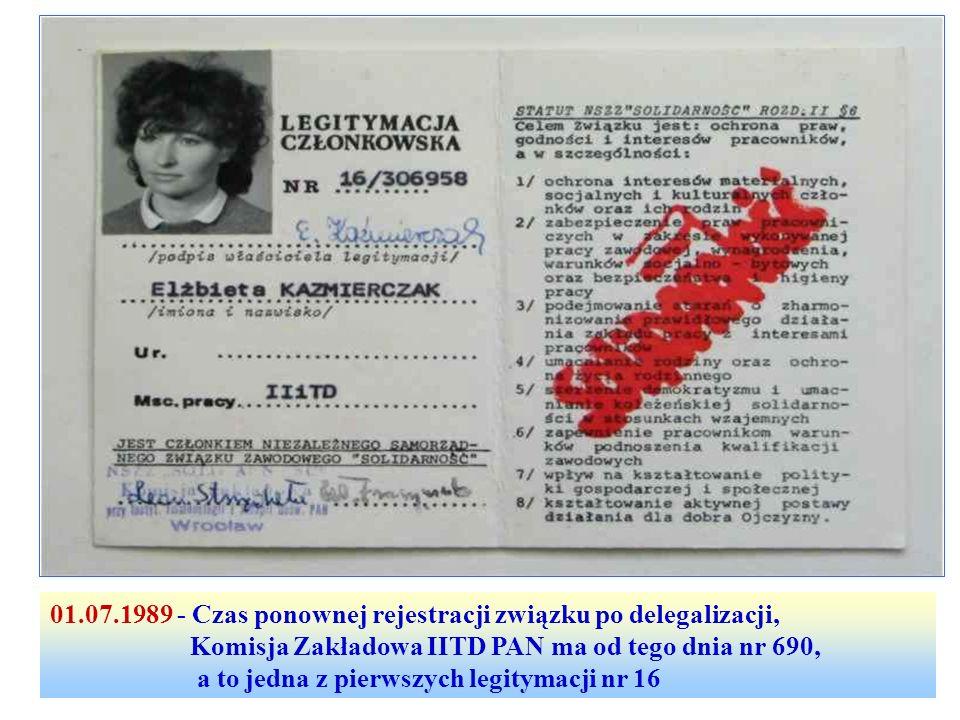 01.07.1989 - Czas ponownej rejestracji związku po delegalizacji,
