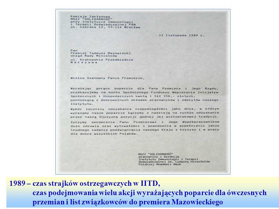 1989 – czas strajków ostrzegawczych w IITD,