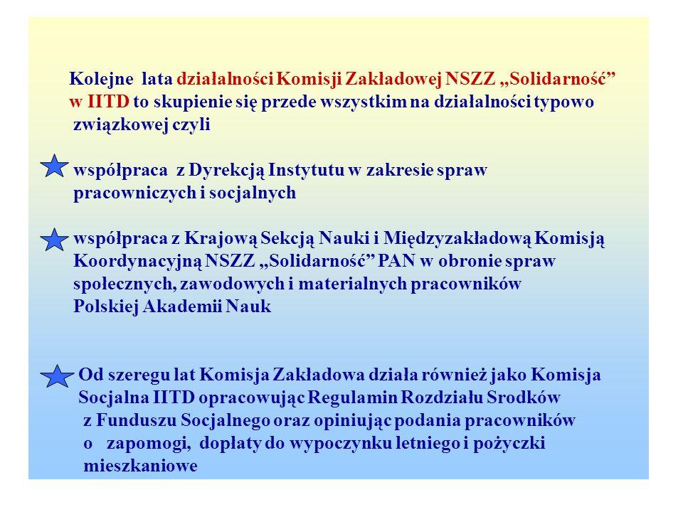 """Kolejne lata działalności Komisji Zakładowej NSZZ """"Solidarność"""