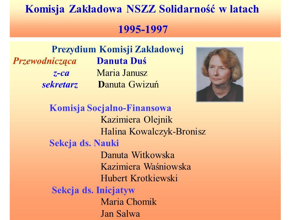 1995-1997 Komisja Zakładowa NSZZ Solidarność w latach