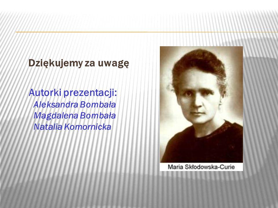 Dziękujemy za uwagę Autorki prezentacji: Aleksandra Bombała