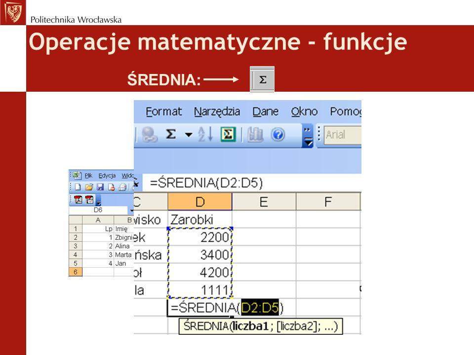 Operacje matematyczne - funkcje