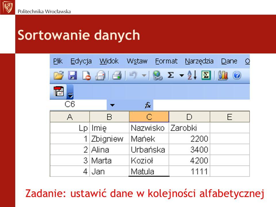 Zadanie: ustawić dane w kolejności alfabetycznej