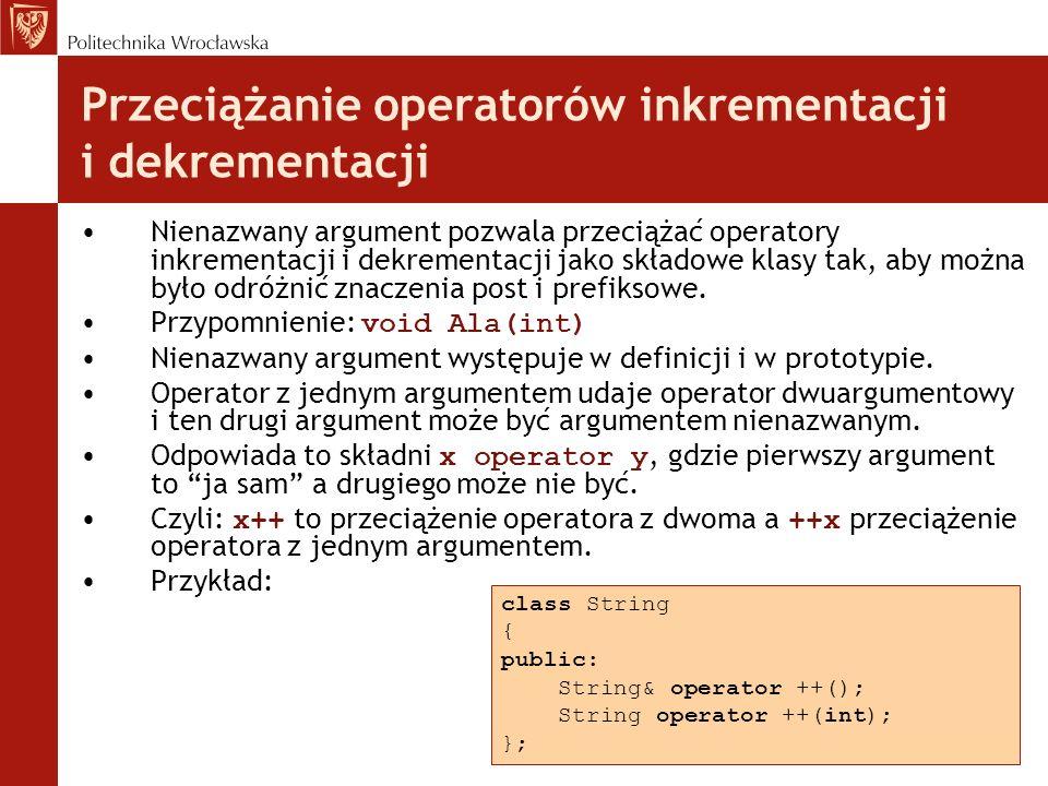 Przeciążanie operatorów inkrementacji i dekrementacji