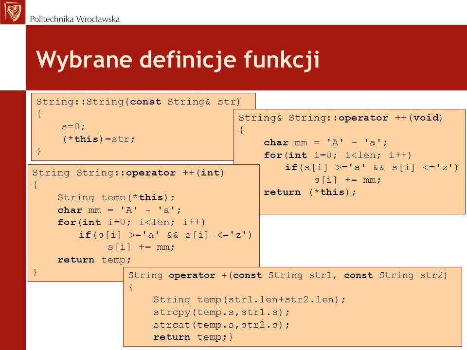 Wybrane definicje funkcji