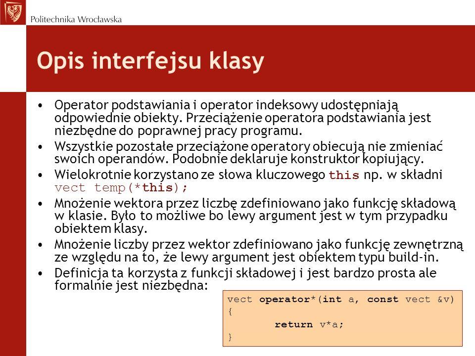 Opis interfejsu klasy