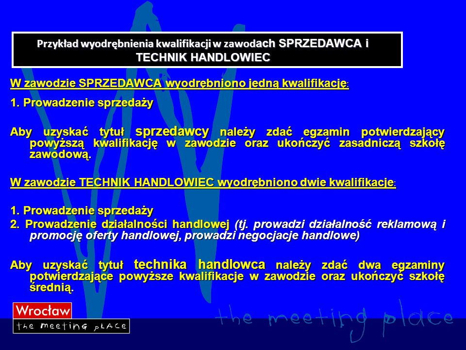 Przykład wyodrębnienia kwalifikacji w zawodach SPRZEDAWCA i TECHNIK HANDLOWIEC
