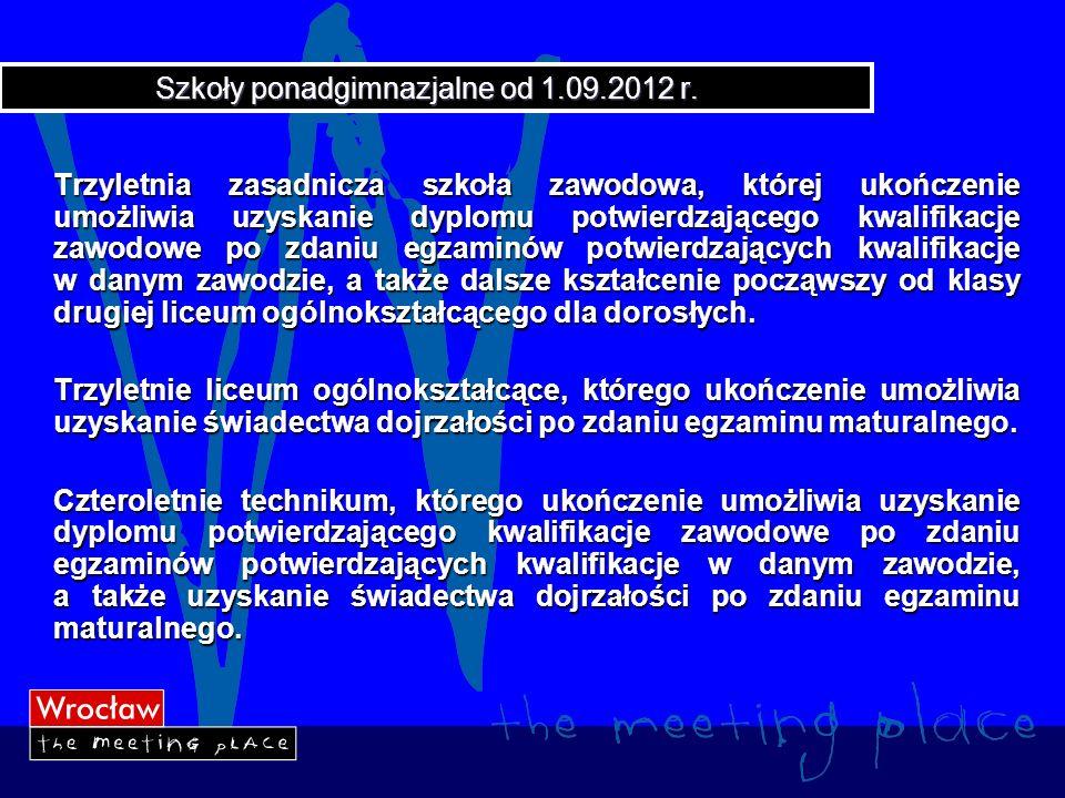 Szkoły ponadgimnazjalne od 1.09.2012 r.
