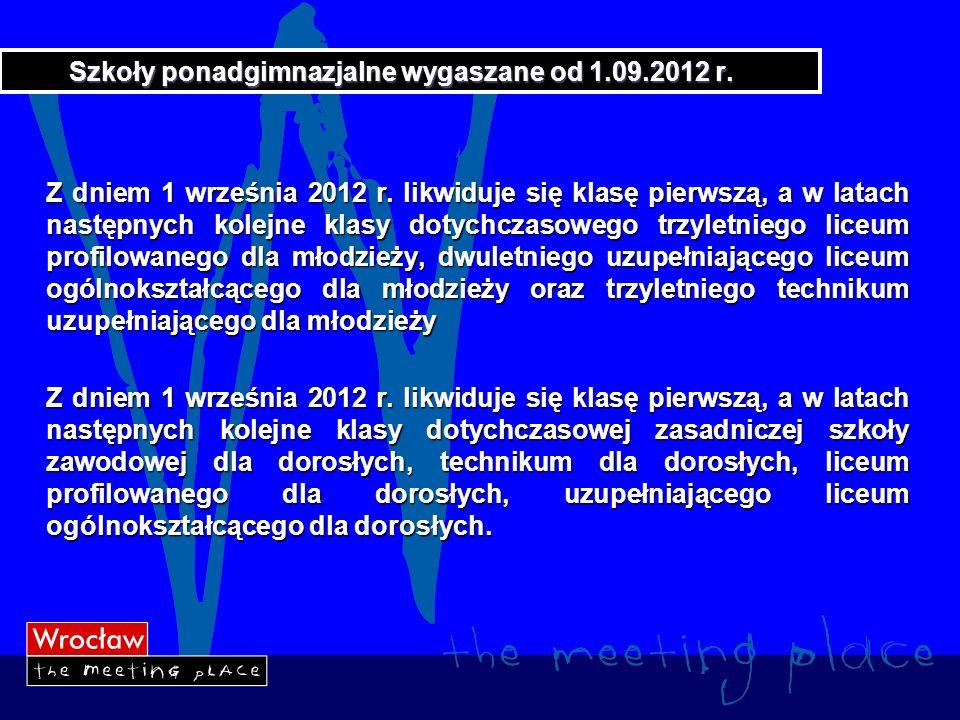 Szkoły ponadgimnazjalne wygaszane od 1.09.2012 r.