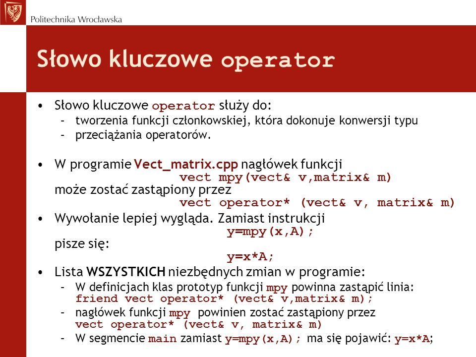 Słowo kluczowe operator
