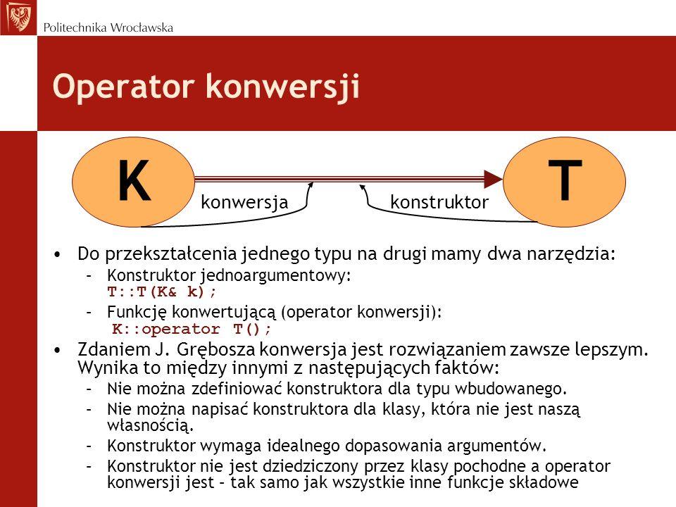 K T Operator konwersji konwersja konstruktor