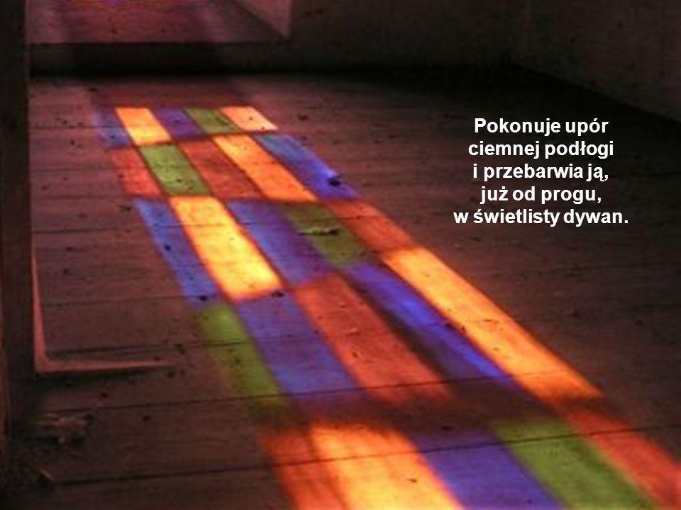 Pokonuje upór ciemnej podłogi i przebarwia ją, już od progu, w świetlisty dywan.