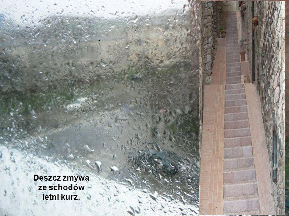 Deszcz zmywa ze schodów letni kurz.
