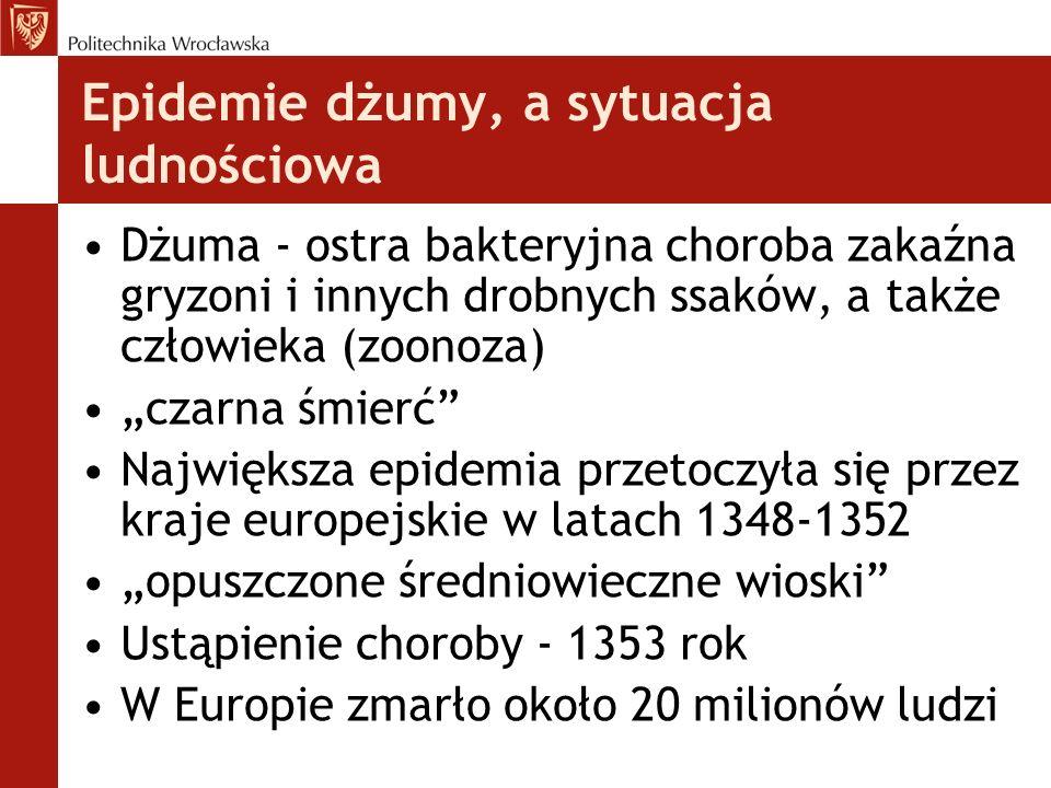 Epidemie dżumy, a sytuacja ludnościowa