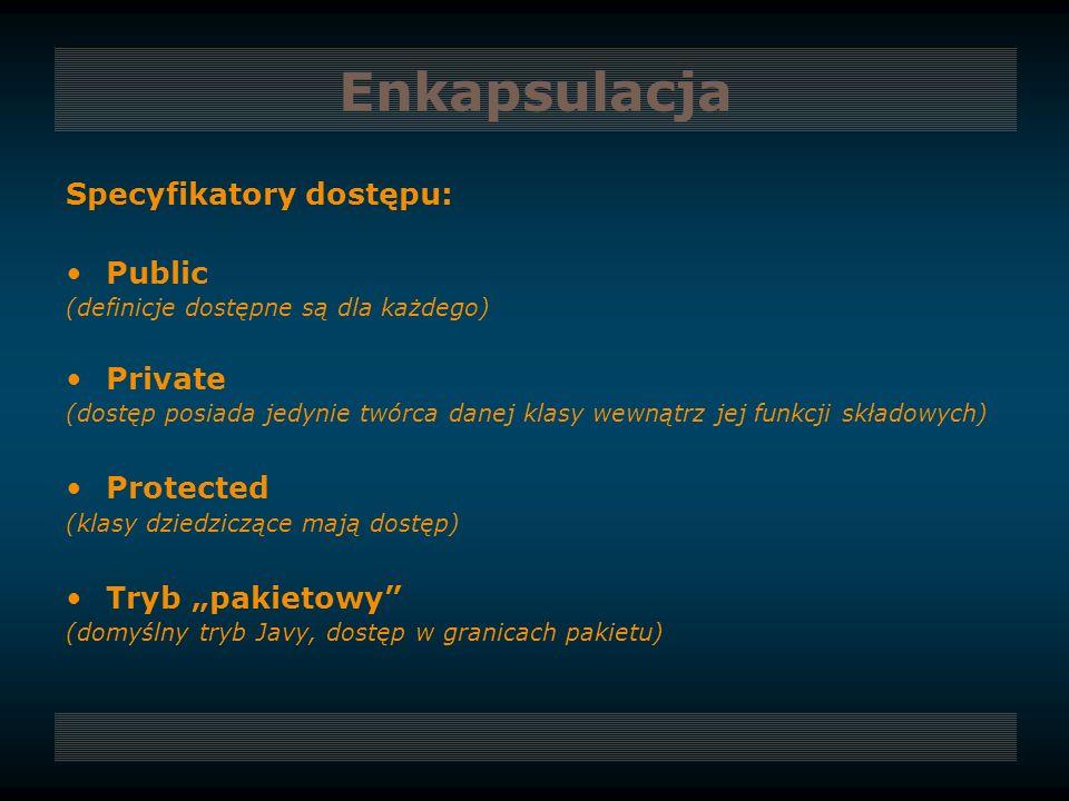 Enkapsulacja Specyfikatory dostępu: Public Private Protected
