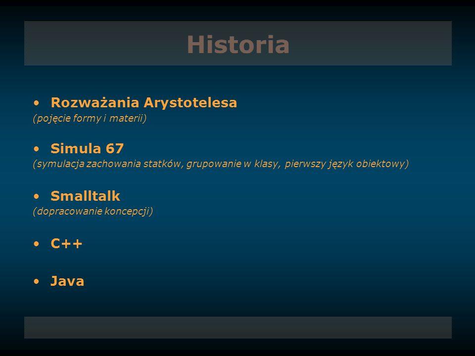 Historia Rozważania Arystotelesa Simula 67 Smalltalk C++ Java