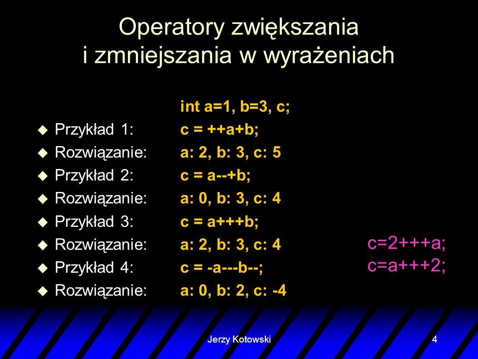 Operatory zwiększania i zmniejszania w wyrażeniach