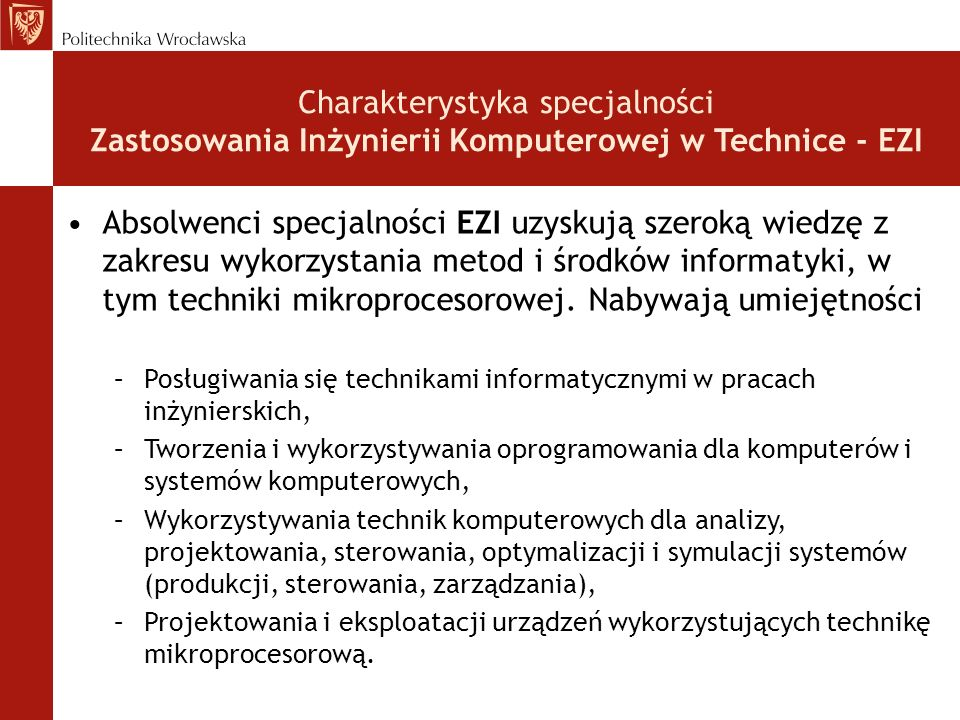 Charakterystyka specjalności Zastosowania Inżynierii Komputerowej w Technice - EZI