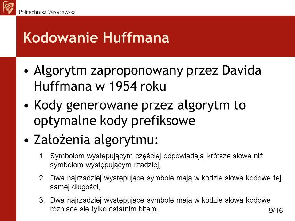 Kodowanie Huffmana Algorytm zaproponowany przez Davida Huffmana w 1954 roku. Kody generowane przez algorytm to optymalne kody prefiksowe.