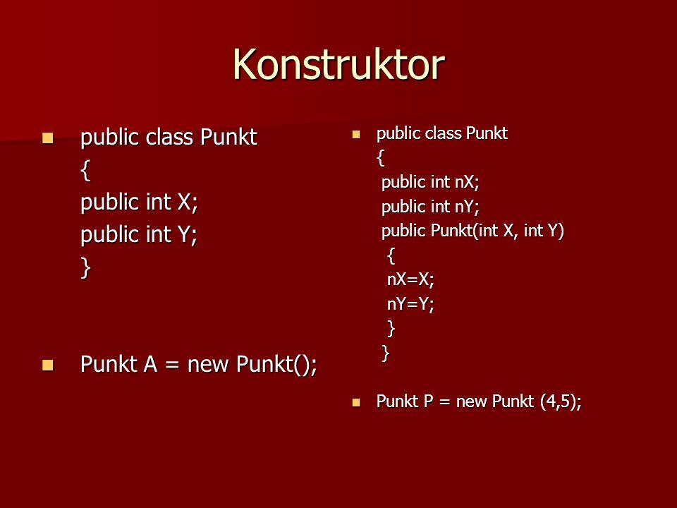 Konstruktor public class Punkt { public int X; public int Y; }
