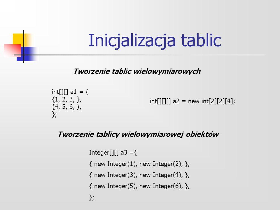 Inicjalizacja tablic Tworzenie tablic wielowymiarowych