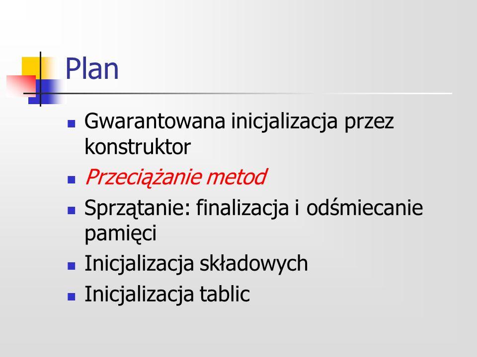 Plan Gwarantowana inicjalizacja przez konstruktor Przeciążanie metod