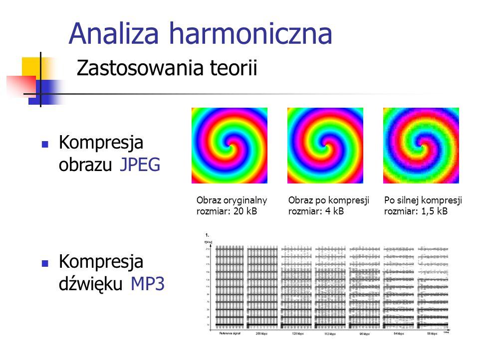 Analiza harmoniczna Zastosowania teorii Kompresja obrazu JPEG