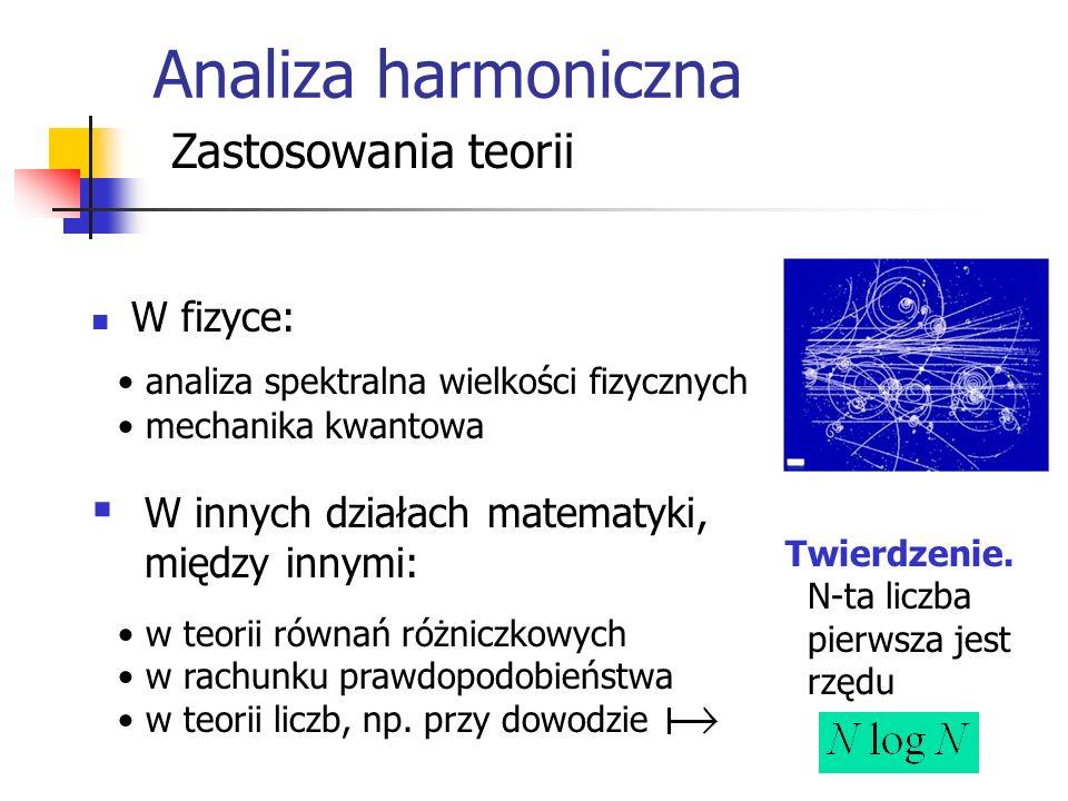 Analiza harmoniczna Zastosowania teorii W fizyce: