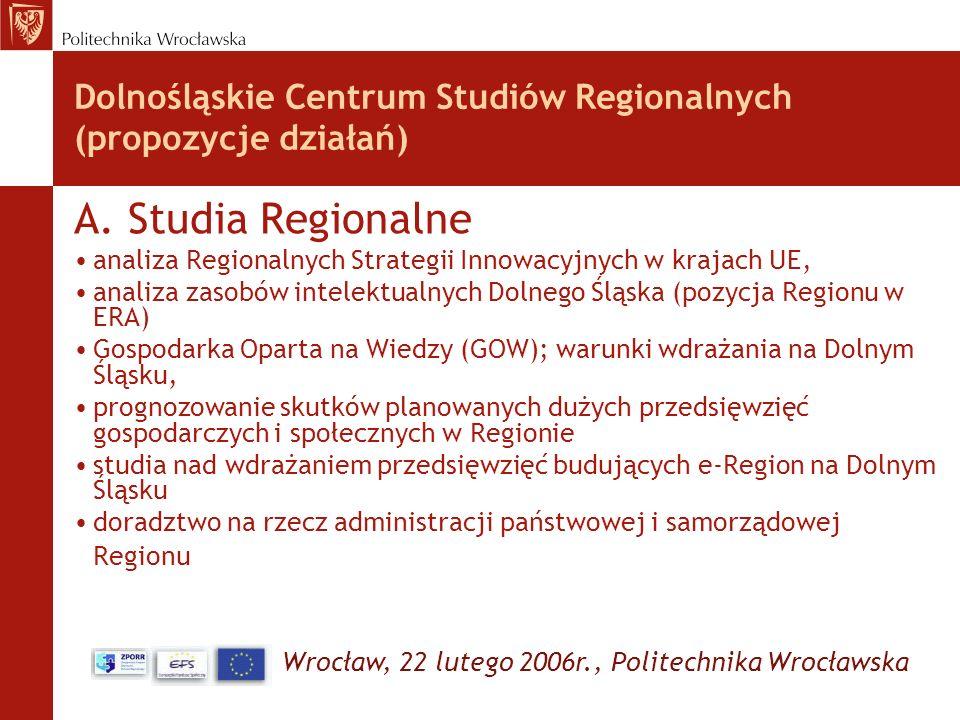 Dolnośląskie Centrum Studiów Regionalnych (propozycje działań)