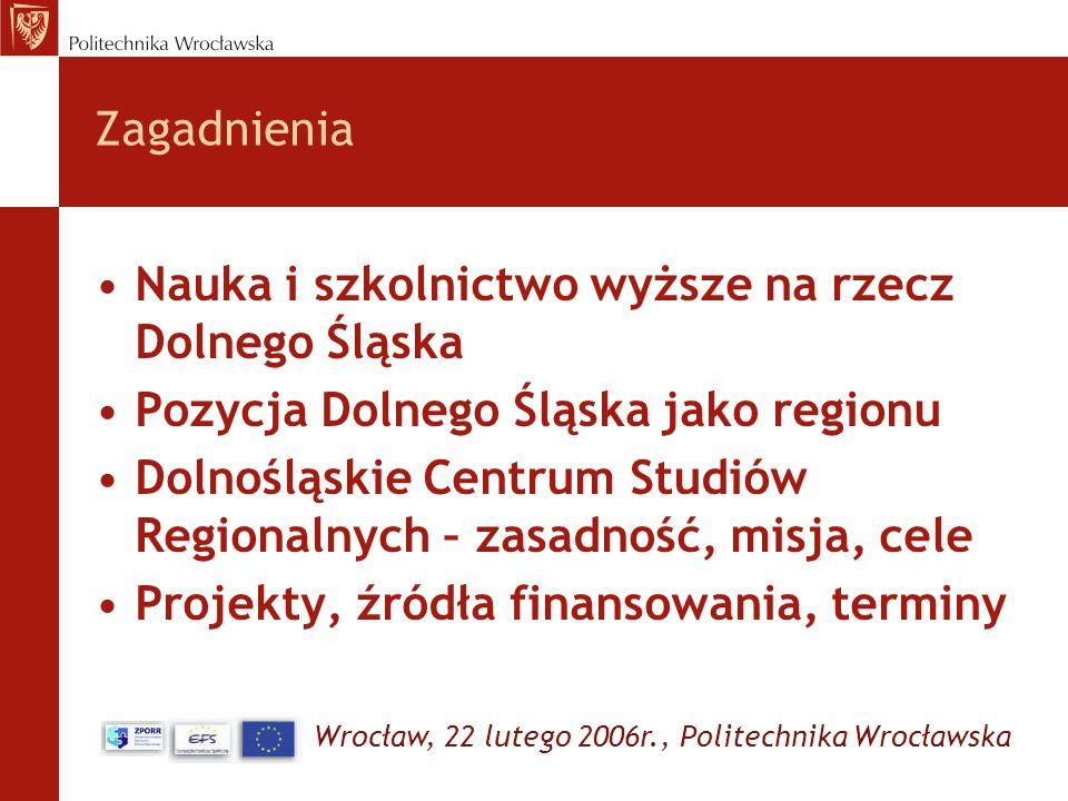 Zagadnienia Nauka i szkolnictwo wyższe na rzecz Dolnego Śląska. Pozycja Dolnego Śląska jako regionu.