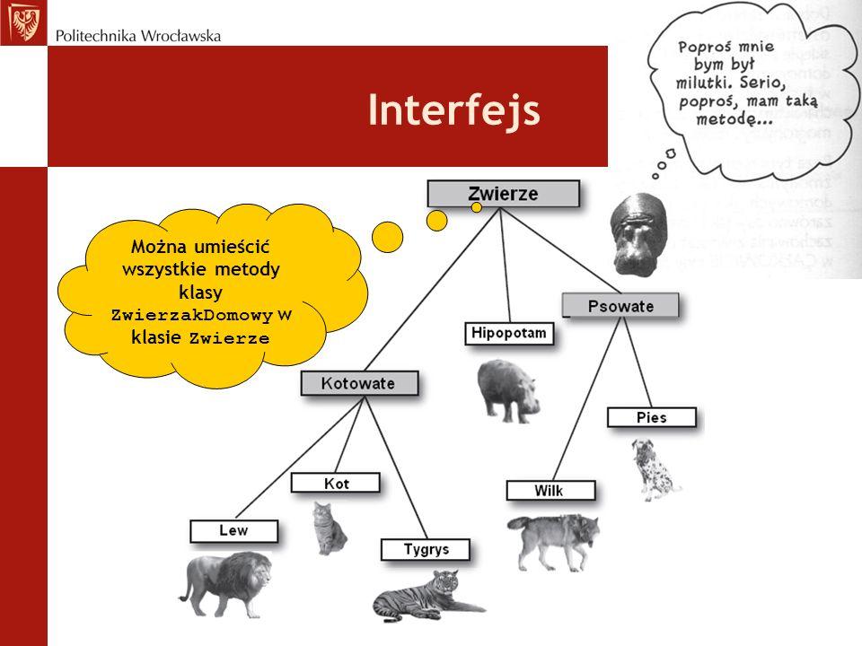 Można umieścić wszystkie metody klasy ZwierzakDomowy w klasie Zwierze