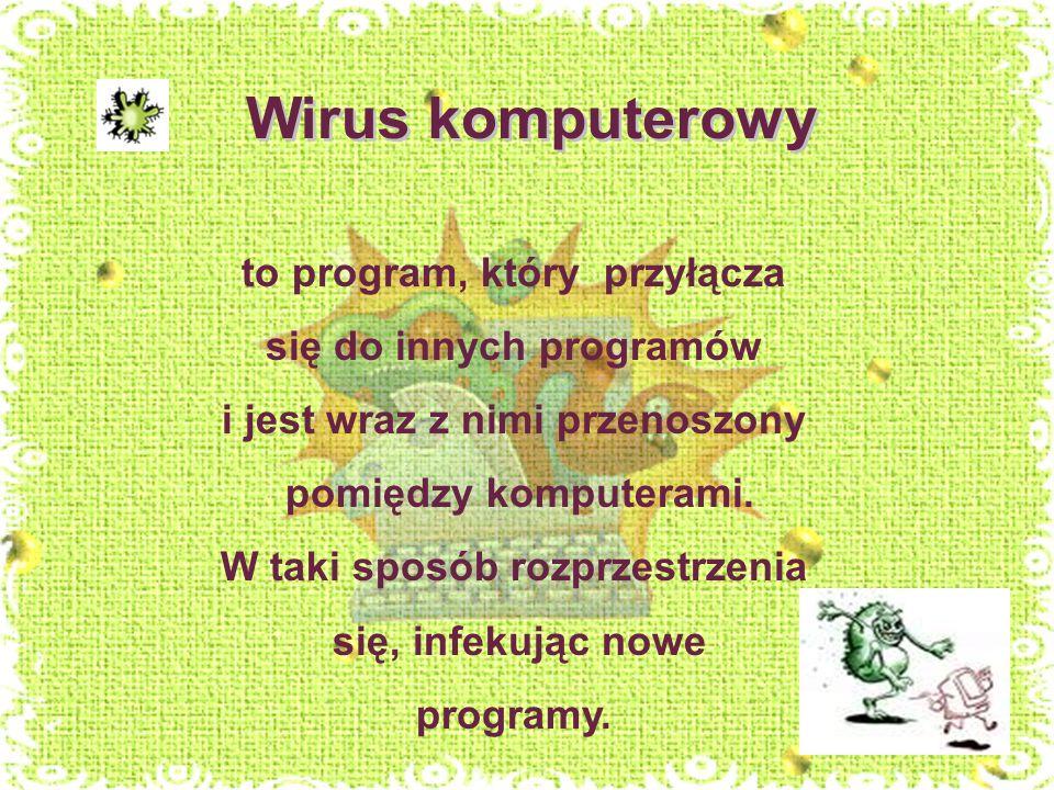 Wirus komputerowy to program, który przyłącza się do innych programów