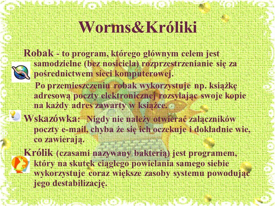 Worms&KrólikiRobak - to program, którego głównym celem jest samodzielne (bez nosiciela) rozprzestrzenianie się za pośrednictwem sieci komputerowej.