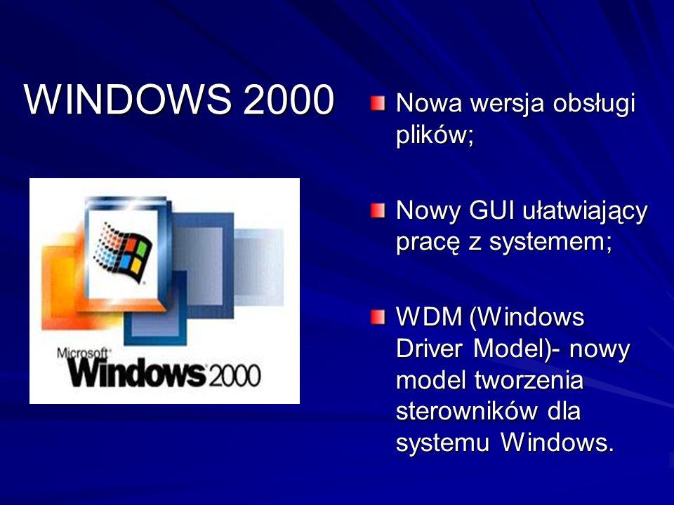 WINDOWS 2000 Nowa wersja obsługi plików;